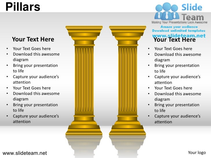 Pillars of an organization strength powerpoint ppt templates pillars your text here your text here your text goes here your toneelgroepblik Image collections