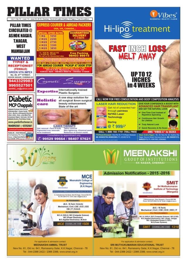 PILLAR TIMESVol.1   No.15   June 14 - June 20, 2015   Sunday   Tamil & English Weekly   8 Pages   Free Circulation PILLAR ...