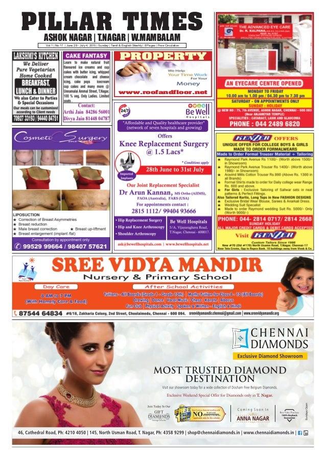 PILLAR TIMESASHOK NAGAR   T.NAGAR   W.MAMBALAM Vol.1   No.17   June 28 - July 4, 2015   Sunday   Tamil & English Weekly   ...