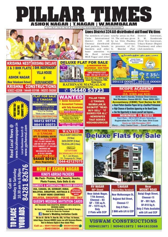 PILLAR TIMESASHOK NAGAR   T.NAGAR   W.MAMBALAM Vol.1   No.37   Nov 22 - Nov 28, 2015   Every Sunday   Tamil & English Week...