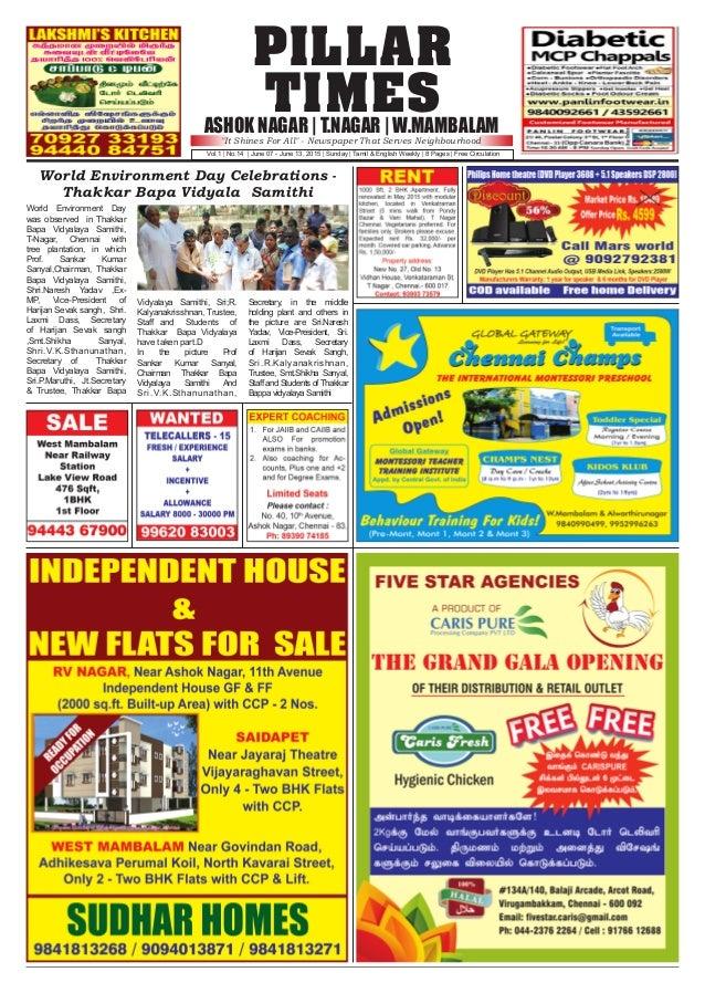 PILLAR TIMESASHOK NAGAR | T.NAGAR | W.MAMBALAM Vol.1 | No.14 | June 07 - June 13, 2015 | Sunday | Tamil & English Weekly |...