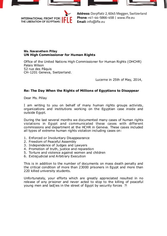 Letter addressed to ms navanethem pillay at the office of the united - Office of the commissioner for human rights ...