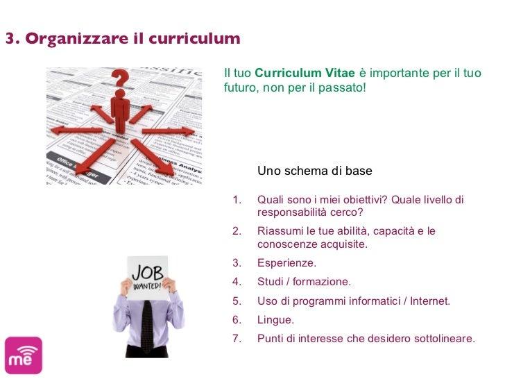 3. Organizzare il curriculum                         Il tuo Curriculum Vitae è importante per il tuo                      ...