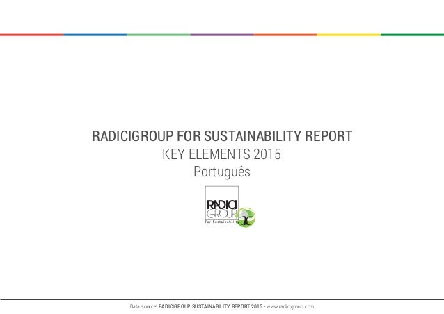 RADICIGROUP FOR SUSTAINABILITY REPORT KEY ELEMENTS 2015 Português Data source: RADICIGROUP SUSTAINABILITY REPORT 2015 - ww...