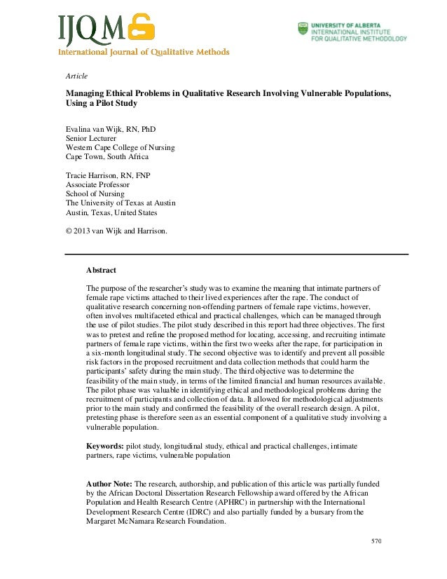 Article  Managing Ethical Problems in Qualitative Research Involving Vulnerable Populations, Using a Pilot Study Evalina v...