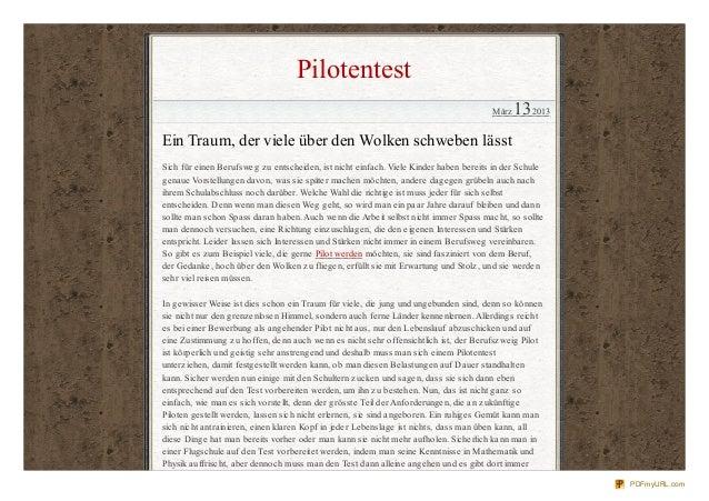 Pilotentest                                                                                       März   132013Ein Traum, ...