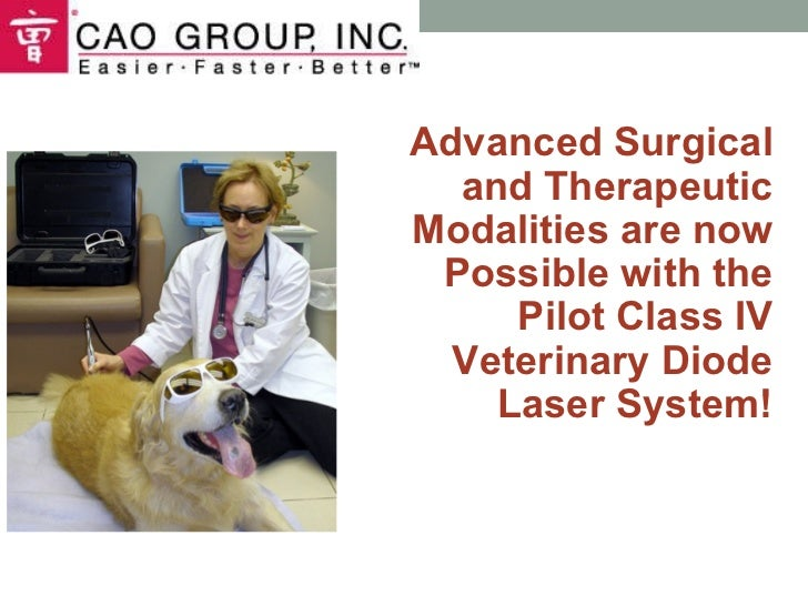 Advanced Surgical and Therapeutic Modalities are now Possible with the Pilot Class IV Veterinary Diode Laser System!