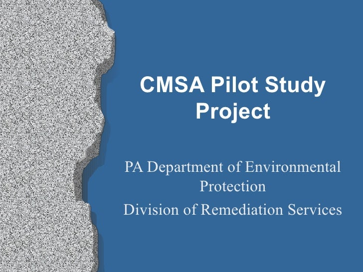 CMSA Pilot Study Project PA Department of Environmental Protection Division of Remediation Services