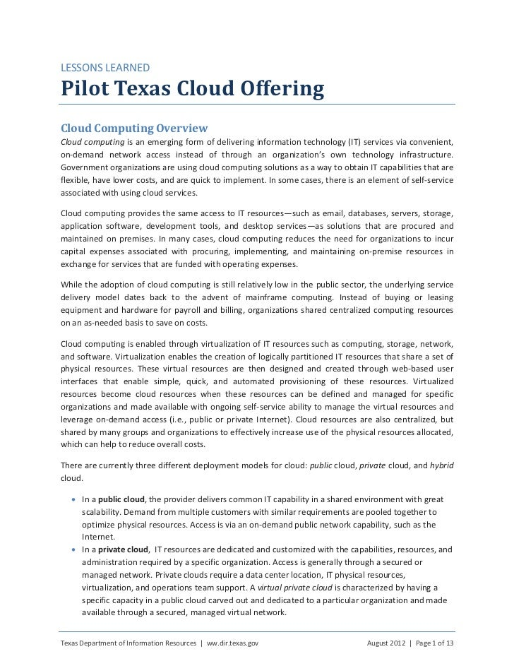 LESSONS LEARNEDPilot Texas Cloud OfferingCloud Computing OverviewCloud computing is an emerging form of delivering informa...