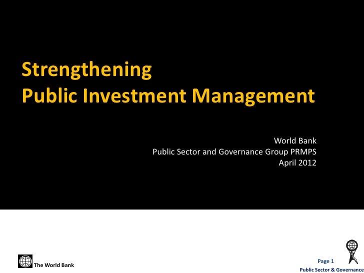 StrengtheningPublic Investment Management                                                 World Bank                  Publ...