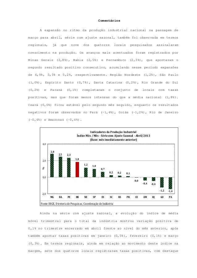 ComentáriosA expansão no ritmo da produção industrial nacional na passagem demarço para abril, série com ajuste sazonal, t...