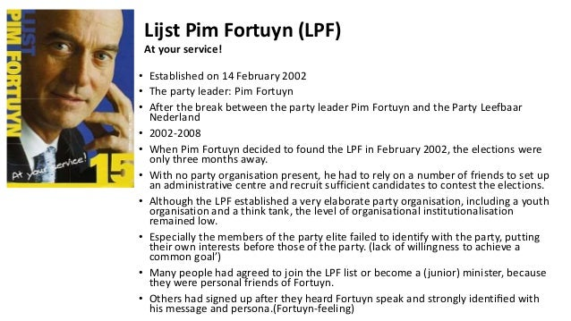 Lijst Pim Fortuyn And Right Wing Parties In The Netherlands