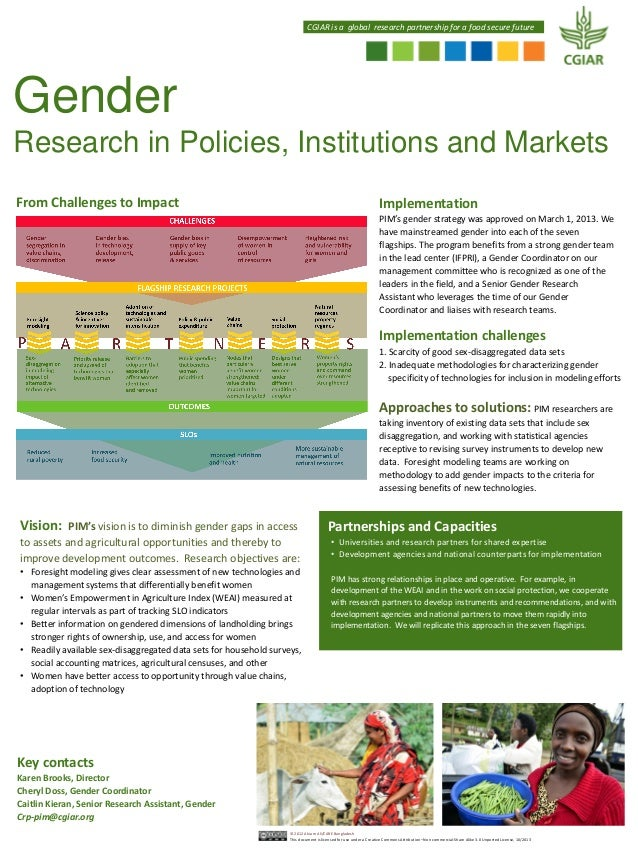 CGIAR is a global research partnership for a food secure future  Gender Research in Policies, Institutions and Markets Fro...
