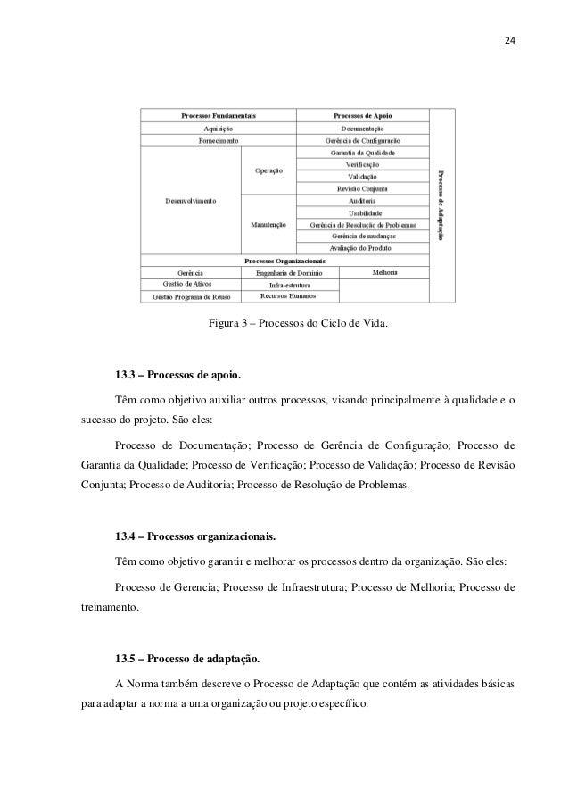 24 Figura 3 – Processos do Ciclo de Vida. 13.3 – Processos de apoio. Têm como objetivo auxiliar outros processos, visando ...