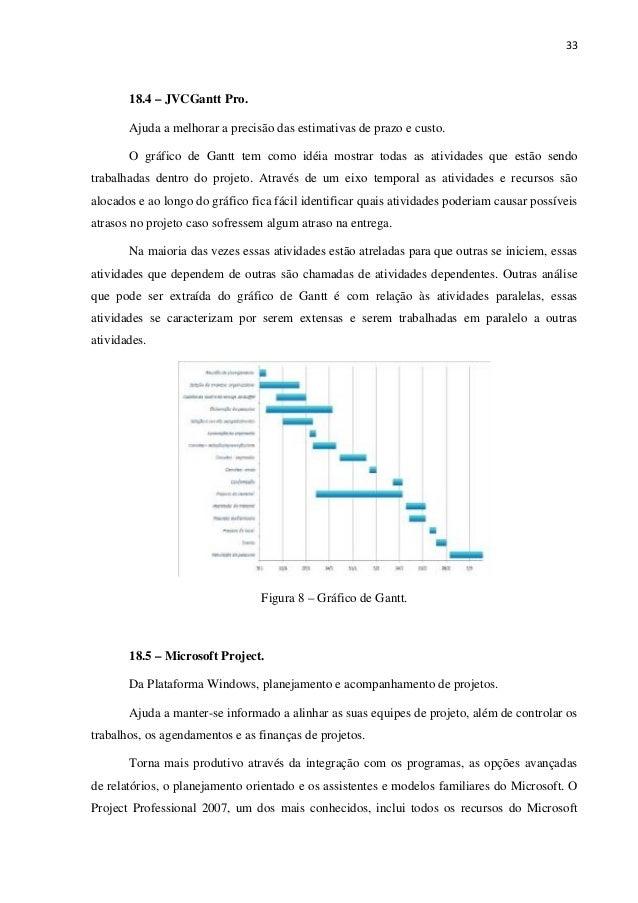 33 18.4 – JVCGantt Pro. Ajuda a melhorar a precisão das estimativas de prazo e custo. O gráfico de Gantt tem como idéia mo...