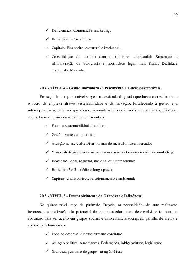 38 Deficiências: Comercial e marketing; Horizonte 1 - Curto prazo; Capitais: Financeiro, estrutural e intelectual; Consoli...