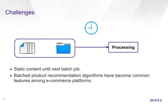 Challenges  !  !  !  !  !  !  ▪ Static content until next batch job.  ▪ Batched product recommendation algorithms have bec...