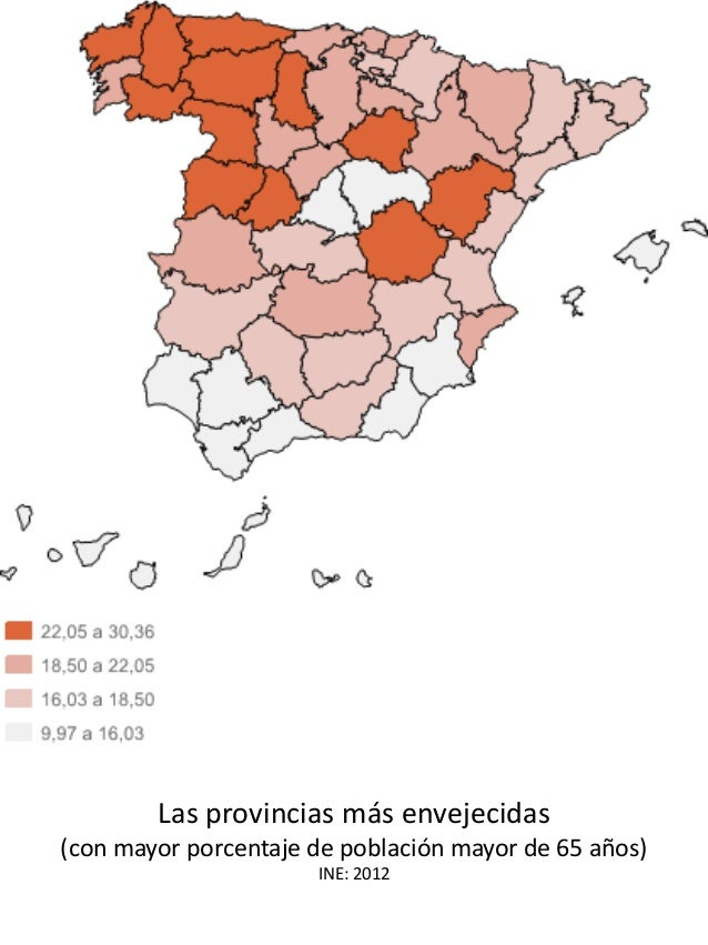 Las provincias más envejecidas (con mayor porcentaje de población mayor de 65 años) INE: 2012