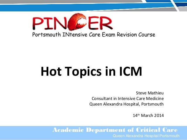 Academic Department of Critical Care Queen Alexandra Hospital Portsmouth Hot Topics in ICM Steve Mathieu Consultant in Int...