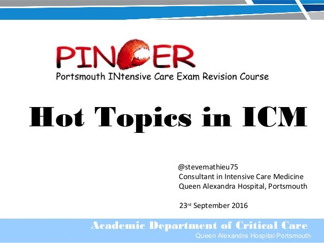 Academic Department of Critical Care Queen Alexandra Hospital Portsmouth Hot Topics in ICM @stevemathieu75 Consultant in I...