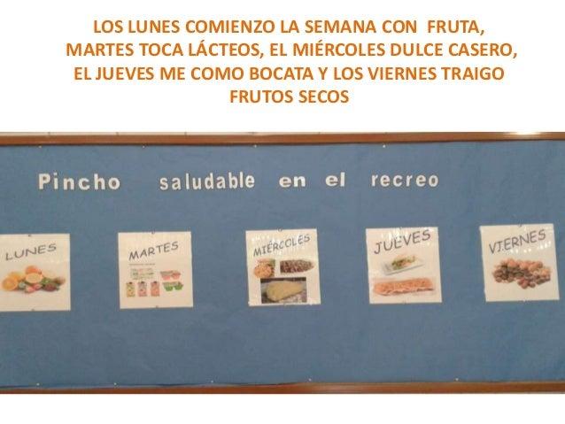 LOS LUNES COMIENZO LA SEMANA CON FRUTA,  MARTES TOCA LÁCTEOS, EL MIÉRCOLES DULCE CASERO,  EL JUEVES ME COMO BOCATA Y LOS V...