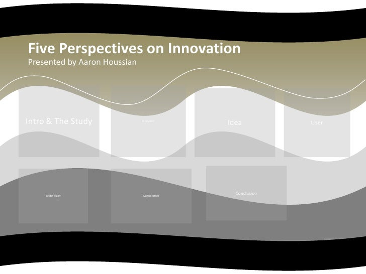 Five Perspectives on Innovation<br />Presented by Aaron Houssian<br />Intro & The Study<br />Innovator<br />User<br />Idea...