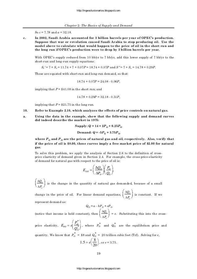 http://ingesolucionarios.blogspot.com                           Chapter 2: The Basics of Supply and Demand      So c = 7.7...