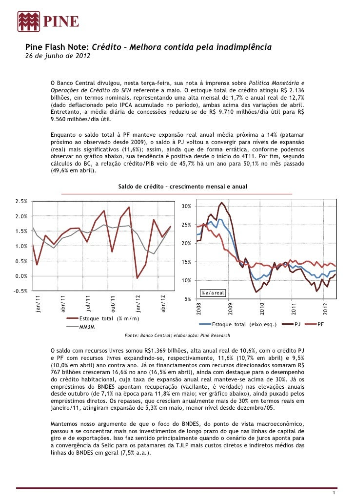Pine Flash Note: Crédito – Melhora contida pela inadimplência    26 de junho de 2012                 O Banco Central divul...