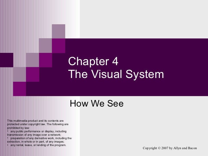 Chapter 4 The Visual System How We See <ul><li>This multimedia product and its contents are protected under copyright law....
