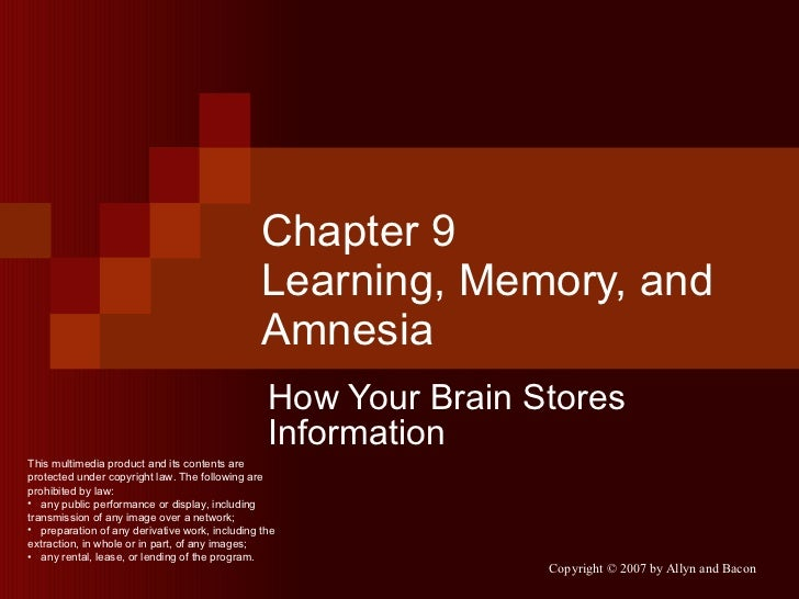Chapter 9 Learning, Memory, and Amnesia How Your Brain Stores Information <ul><li>This multimedia product and its contents...