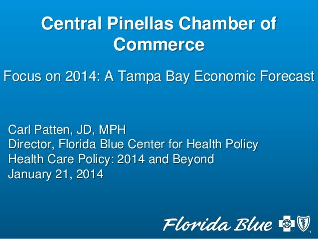 Central Pinellas Chamber of Commerce Focus on 2014: A Tampa Bay Economic Forecast  Carl Patten, JD, MPH Director, Florida ...