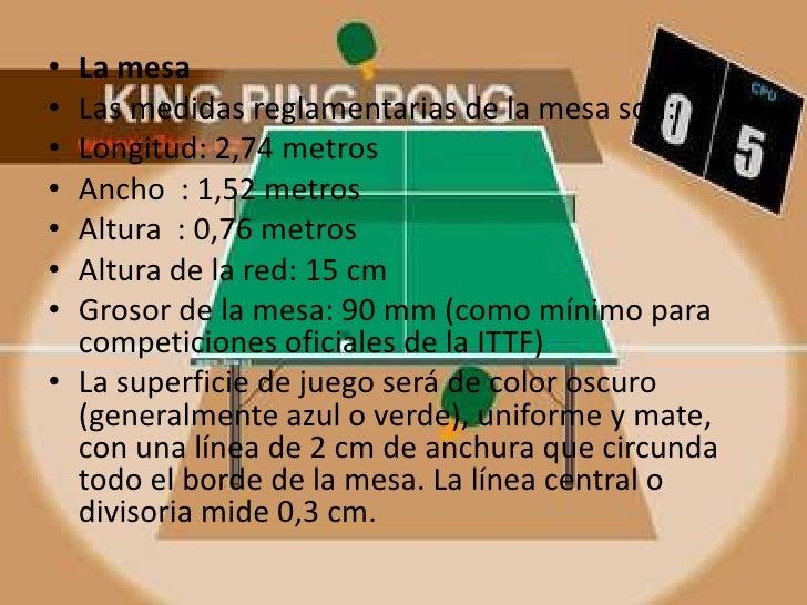 Ping pong tenis de mesa for Dimensiones mesa ping pong