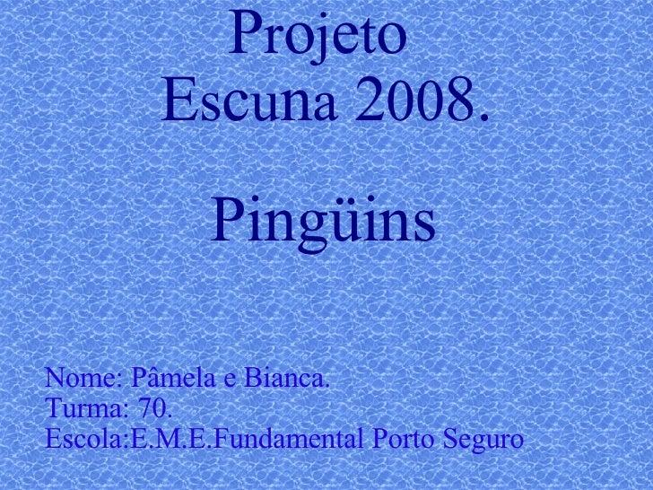 P r o j e t o  E s c u n a  2 00 8. Pingüins Nome: Pâmela e Bianca. Turma: 70. Escola:E.M.E.Fundamental Porto Seguro