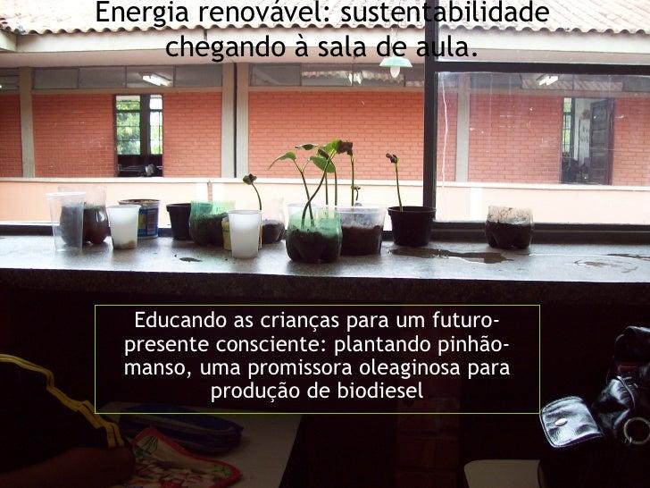 Energia renovável: sustentabilidade chegando à sala de aula. Educando as crianças para um futuro-presente consciente: plan...