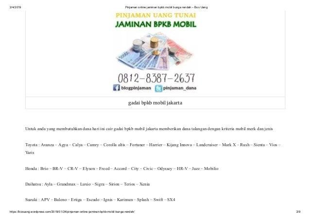 Pinjaman Online Jaminan Bpkb Mobil Bunga Rendah