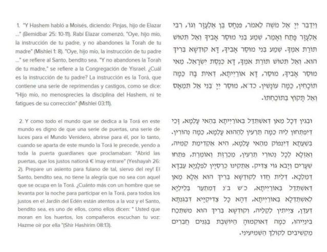 """1. """"Y Hashem habló a Moisés.  diciendo:  Plnjas.  hijo de Elazar . .."""" (Bemldbar 25: 10-11).  Rabí Elazar comenzó.  """"Oye. ..."""