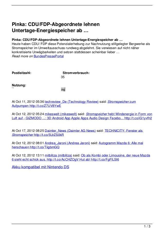 Pinka: CDU/FDP-Abgeordnete lehnenUntertage-Energiespeicher ab …Pinka: CDU/FDP-Abgeordnete lehnen Untertage-Energiespeicher...