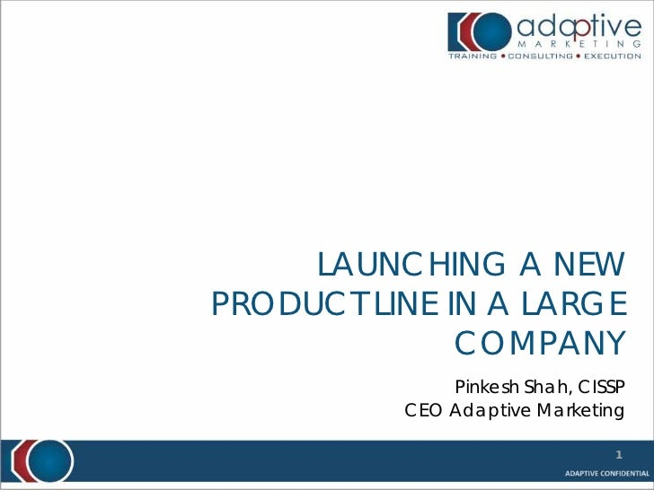 LAUNCHING A NEWPRODUCT LINE IN A LARGE              COMPANY              Pinkesh Shah, CISSP          CEO Adaptive Marketi...