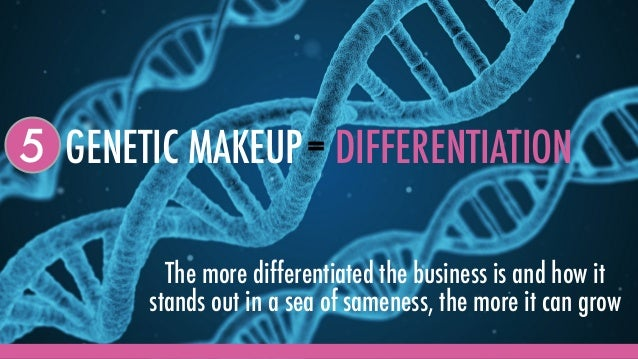 GENETIC MAKEUP5 = DIFFERENTIATION The more differentiated the business is and how it stands out in a sea of sameness, the ...