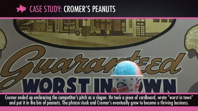 CASE STUDY: CROMER'S PEANUTS Cromer ended up embracing the competitor's pitch as a slogan. He took a piece of cardboard, w...