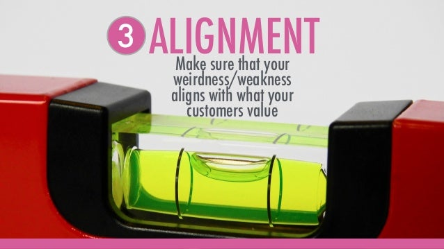 ALIGNMENTMake sure that your weirdness/weakness aligns with what your customers value 3