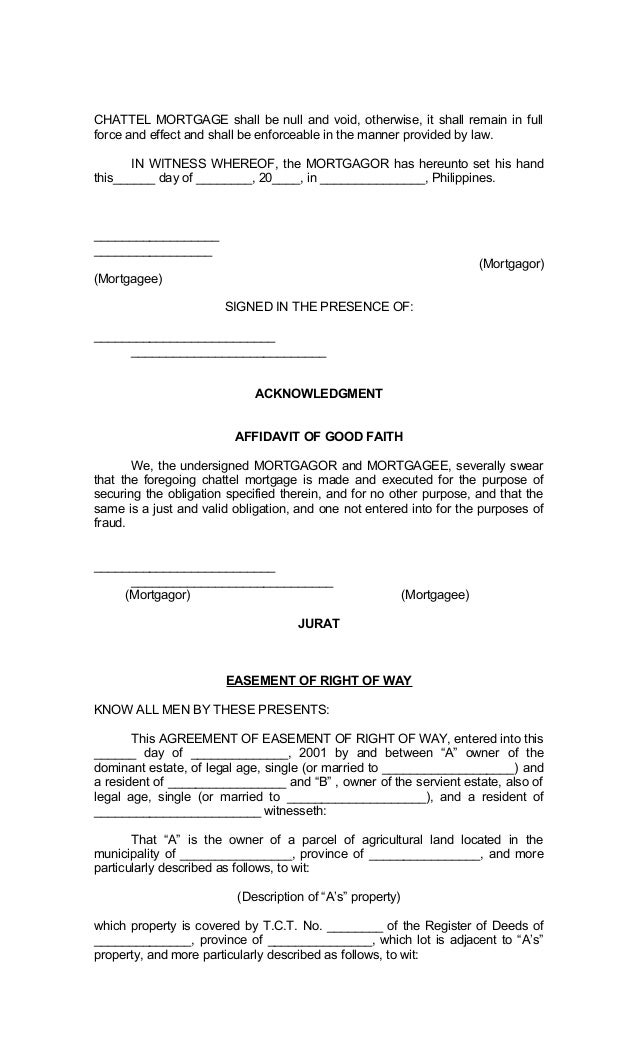 Legal Forms of Philippines – Sample Mortgage Document