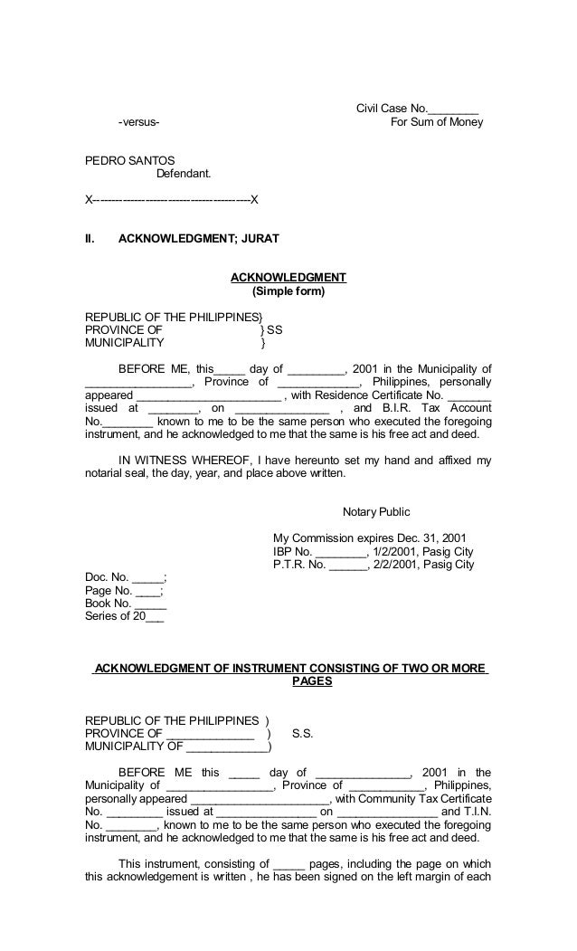 Legal Forms of Philippines – Civil Summons Form