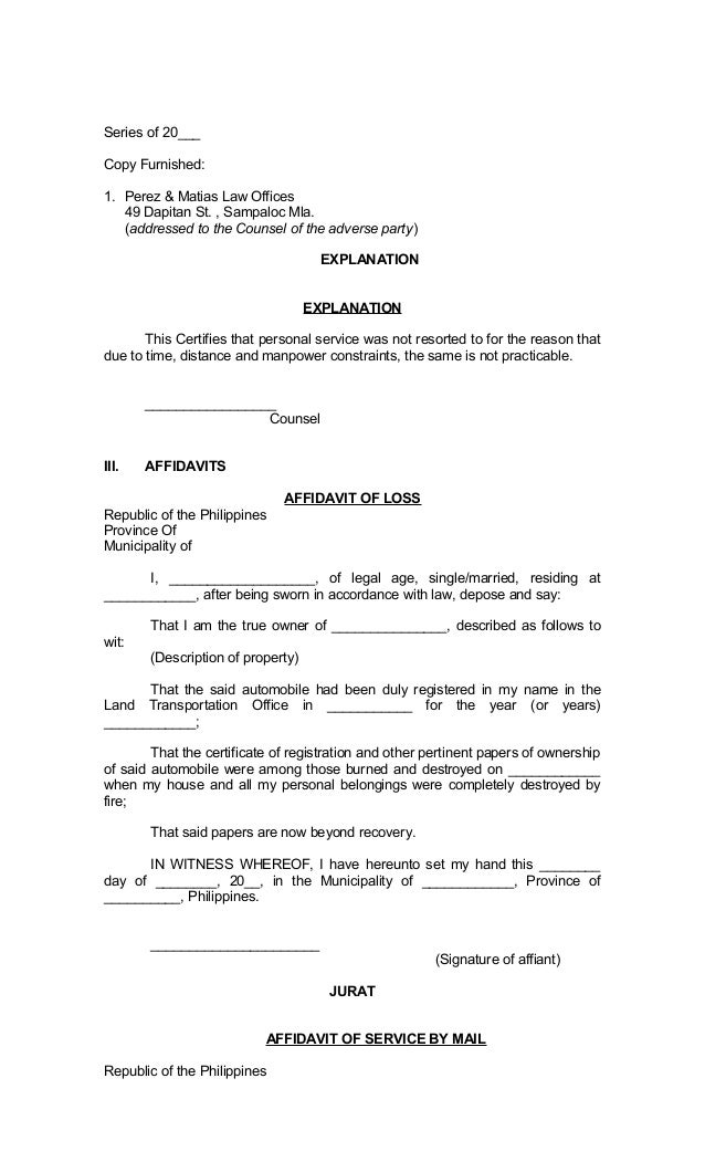 ____; 5.  General Affidavit Sample