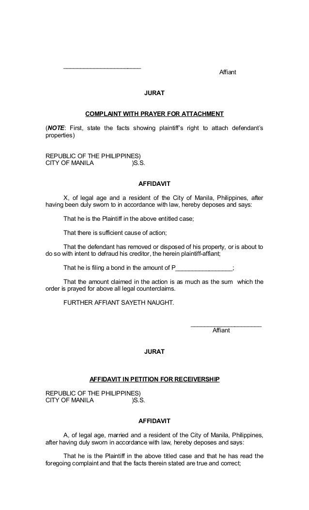 Legal Forms of Philippines – Affidavit of Loss Template