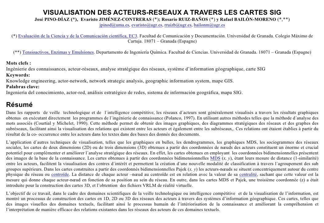 VISUALISATION DES ACTEURS-RESEAUX A TRAVERS LES CARTES SIG                José PINO-DÍAZ (*), Evaristo JIMÉNEZ-CONTRERAS (...