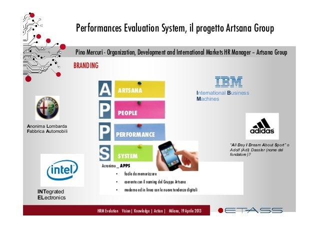 Performances Evaluation System, il progetto Artsana - Pino Mercuri, Organizzazione Sviluppo, HR Manager Mercati Internazionali - Artsana Group, ETAss Workshop Slide 3