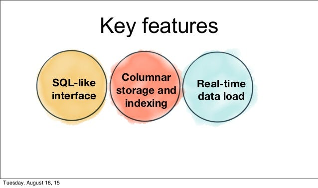 Key features SQL-like interface Columnar storage and indexing Real-time data load Tuesday, August 18, 15