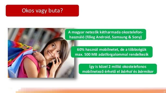 Okos vagy buta? 17 A magyar netezők kétharmada okostelefon- használó (főleg Android, Samsung & Sony) 60% használ mobilnete...