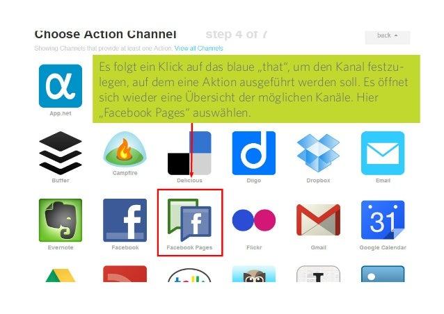 """16 Es folgt ein Klick auf das blaue """"that"""", um den Kanal festzu- legen, auf dem eine Aktion ausgeführt werden soll. Es öff..."""